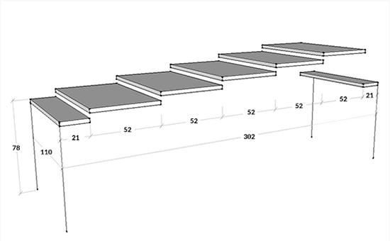 Dimensioni consolle Arcobaleno L 110